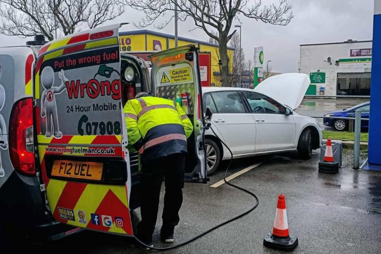 water in petrol contamination of VW Golf in Liverpool